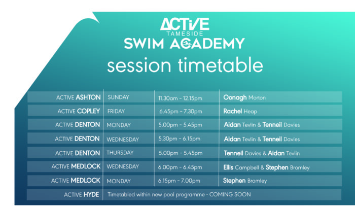 Active Tameside Swim Academy timetable