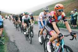 British Cycling coach Simon Wilson and Robert Donaldson competing in the Tour of Britain 2021